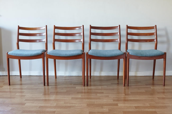 4 Arne Vodder Cado dining chairs 191 in a line