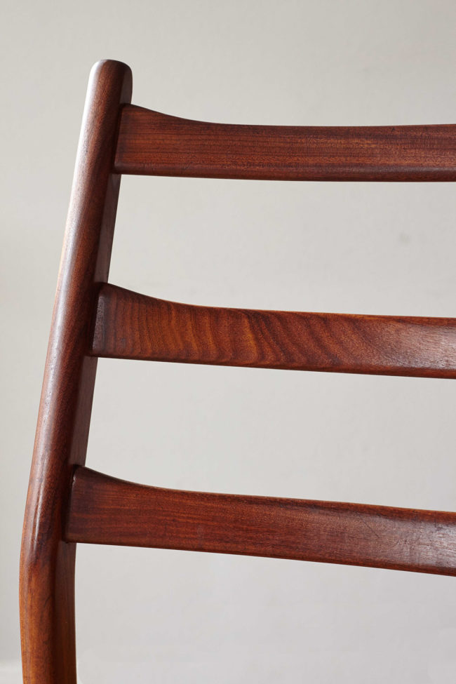 Close up of back of Casala dining chair with velvet upholstery