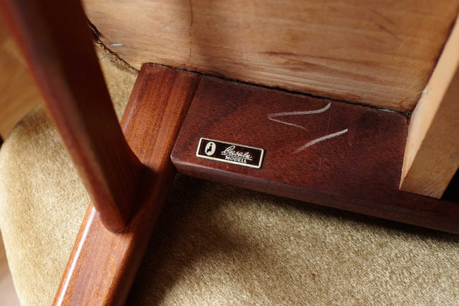 Close up of Casala sticker dining chair with velvet upholstery