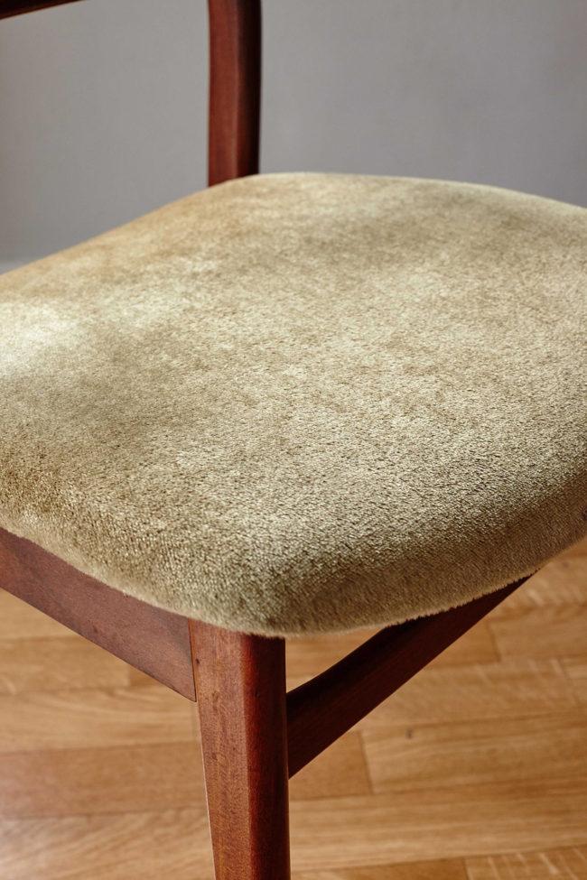 Close up of velvet upholstery of Casala dining chair with velvet upholstery