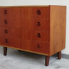 4 drawers teak dresser at an angle