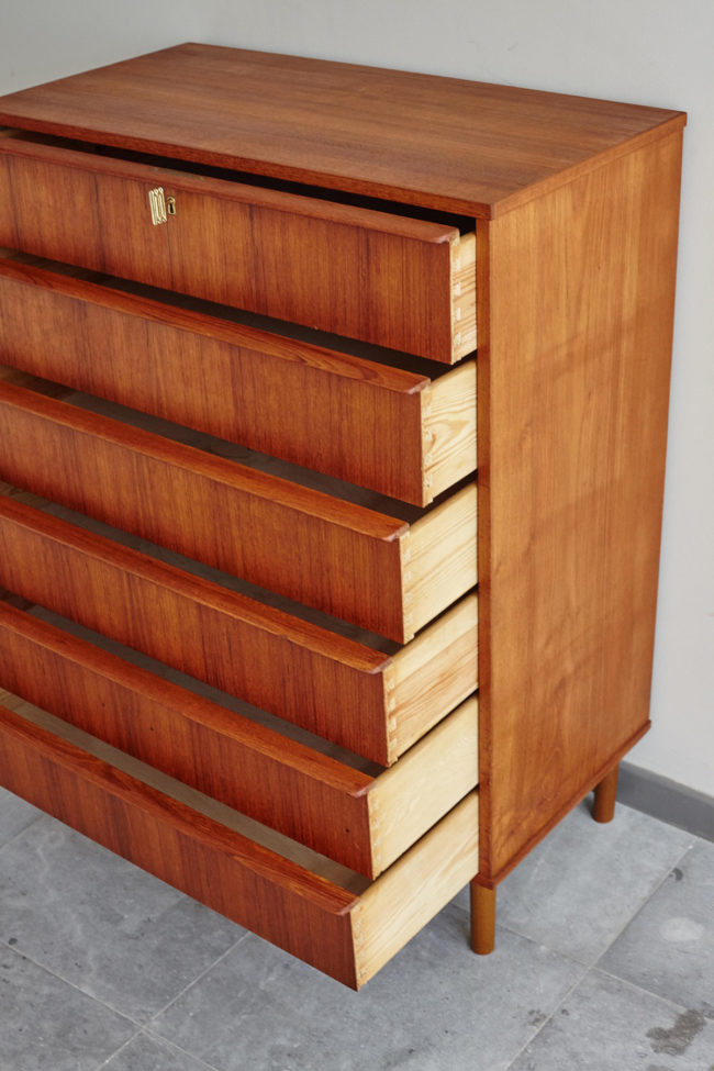 Danish 6 drawer dresser with drawers opened