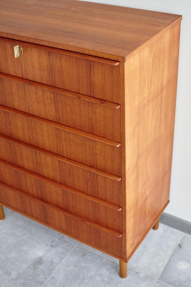 Danish 6 drawer dresser at an angle