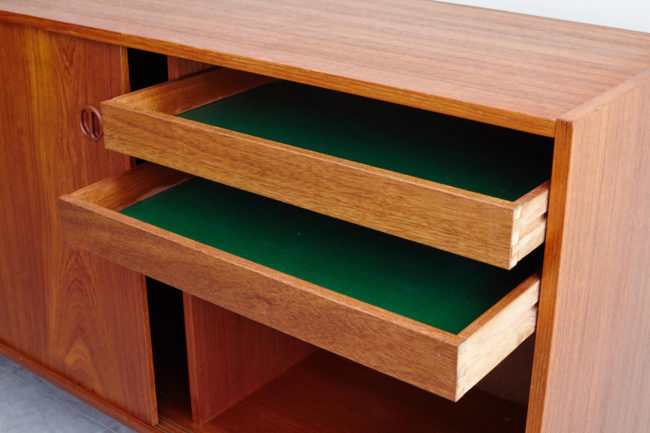 Danish sideboard with drawers opened