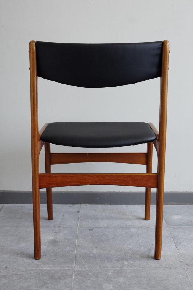 Back of Danish black skai dining chair