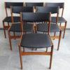 6 Danish black skai dining chairs