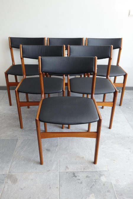 6 Danish black skai dining chairs