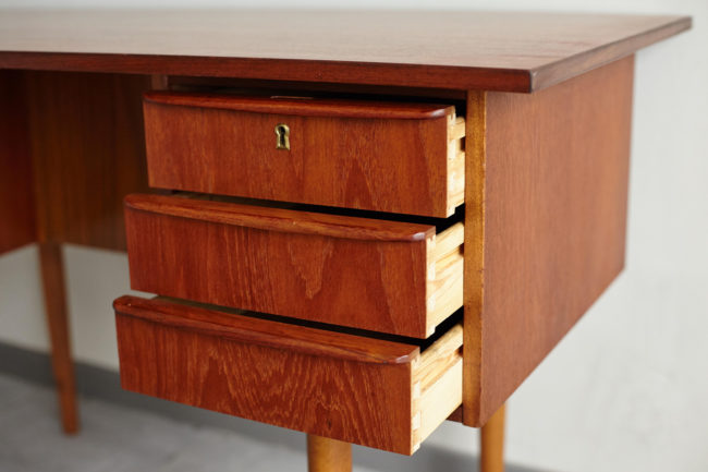 Danish teak desk with drawers opened