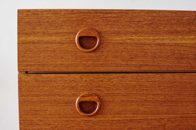 Details of drawers of Teak Danish dresser