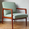 Danish mid-century green armchair at an angle