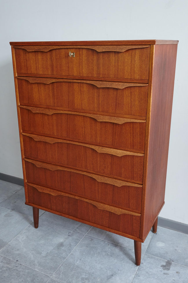 Danish teak chest of drawers at an angle