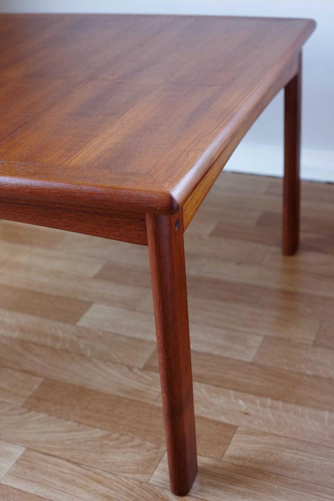 Corner of Dyrlund teak coffee table