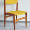 Danish teak dining chair at an angle