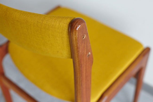 Close up of backrest frame of Danish teak dining chair