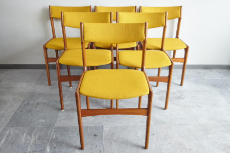 Back of Danish teak dining chairs