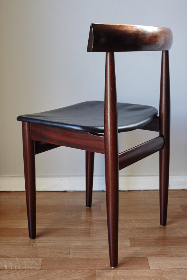 Back of Hans Olsen dining chair at an angle