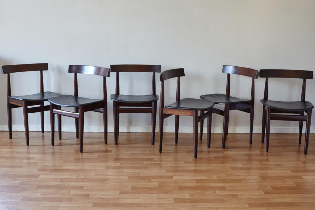 6 Hans Olsen dining chairs at different angles