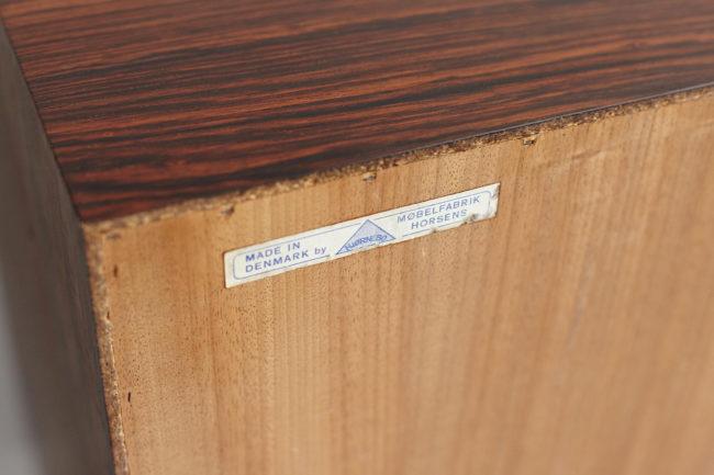 Sticker at the back of Hjornebo Mobelfabrik rosewood cabinet