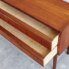 Small Danish teak dresser from above with drawers opened