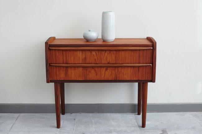 Small Danish teak dresser with objects