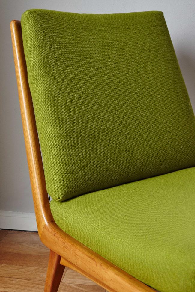 Close up of cushions of Soloform green Boomerang chair