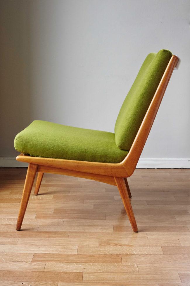 Profile of Soloform green Boomerang chair