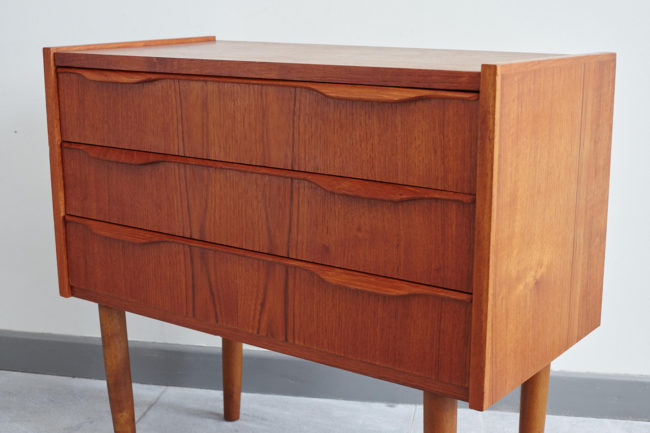 Swedish bedside dresser at an angle