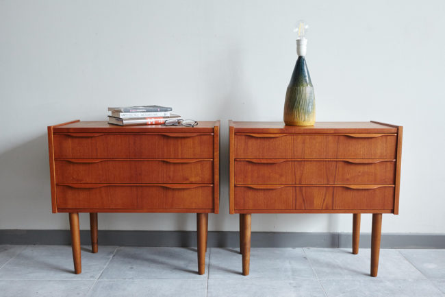 Swedish bedside dressers with objects