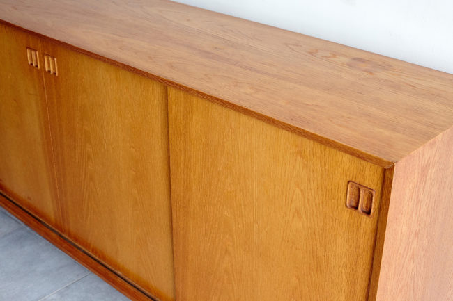 Top of Danish oak sideboard at an angle
