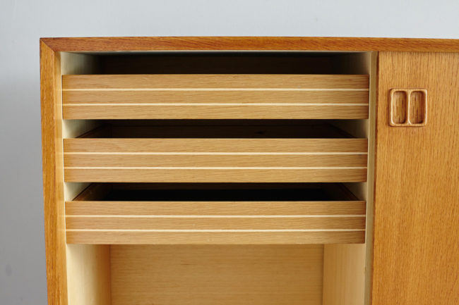 Left drawers details of Danish oak sideboard