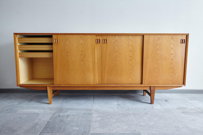 Danish oak sideboard with left door opened