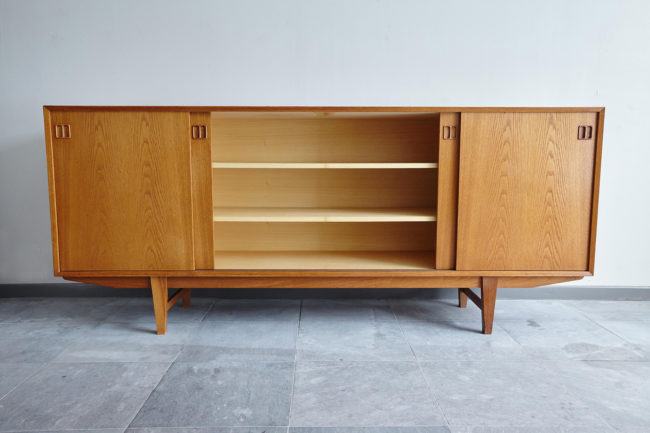 Danish oak sideboard with center door opened