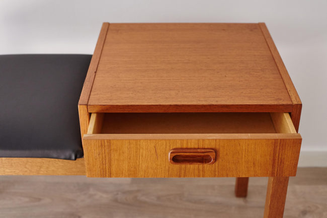 Swedish telephone bench with drawer open